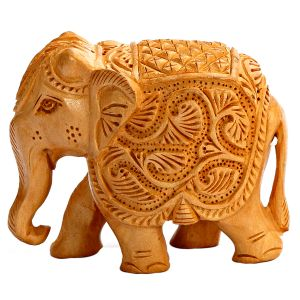 Ornately Carved Wooden Royal Elephant Show Piece.