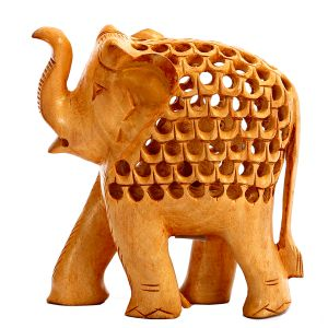 Carved Wooden Elephant With Jaali Pattern