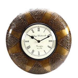 Analog Wall Clock Made In Wood With Antique Finish