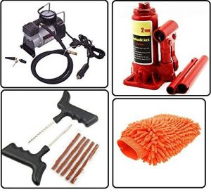 Autostark Car Accessories Combo Air Compressor 2 Ton Hydraulic Bottle Puncture Repair Kit Microfibre Cloth For Tata Indica