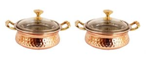 Steel Copper Casserole Dish Serving Daal Curry Set Of 2 Handi Glass Lid