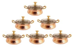 Steel Copper Casserole Dish Serving Daal Curry Set Of 6 Handi Glass Lid