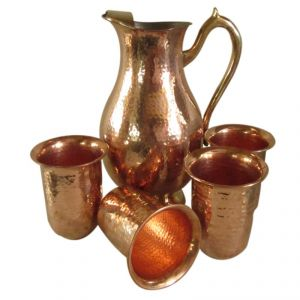 Copper Jug With 4 Piece Glass Set
