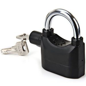Home Security Systems - 10 MM Hardened Steel Shackle Alarm Lock With Siren Protector - Black