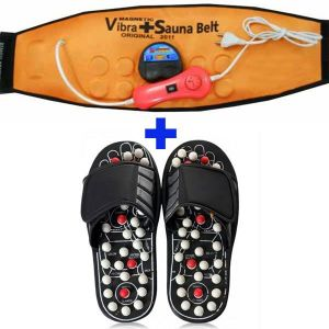 Combo Acupressure Massage Slippers 3 In 1 Vibra Heating Sauna Slim Belt