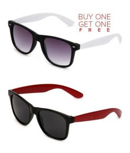 Buy 1 Red Wayfarer Sunglasses And Get 1 White Wayfarer Sunglasses Free