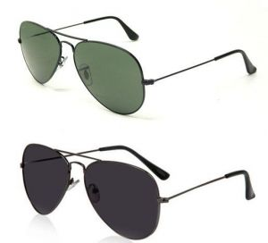 Buy 1 Black Aviator Sunglasses And Get 1 Greenish Aviator Sunglasses Free