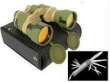 Binoculars, Magnifying Glasses, Telescopes - Belgian Camping Knife Set And Russian Binocular