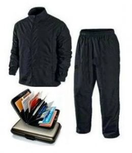 Complete Rain Suit With Data Secure Aluminium Wallet New
