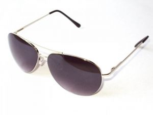 Indmart Silver Aviator Black Lenses Sunglasses Model