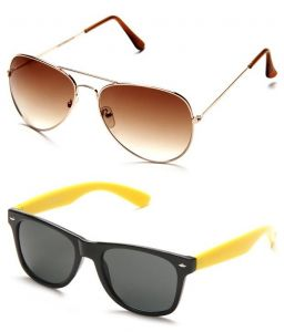 Indmart Brown Aviator And Yellow Wayfarer Sunglasses