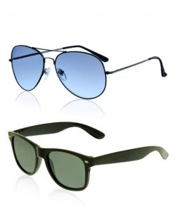 Indmart Blue Aviator And Black Wayfarer Sunglasses