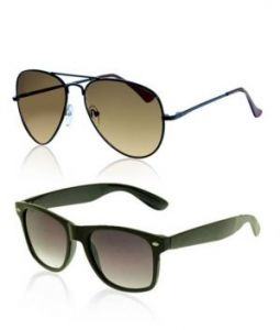 Indmart Brown Aviator And Black Wayfarer Sunglasses