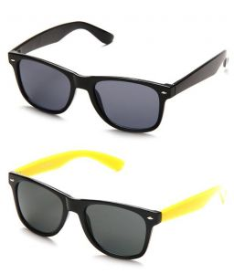 Indmart Black Wayfarer And Yellow Wayfarer Sunglasses