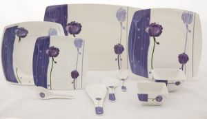 Deluxe Quality Square Melamine Dinner Set 50 PCs