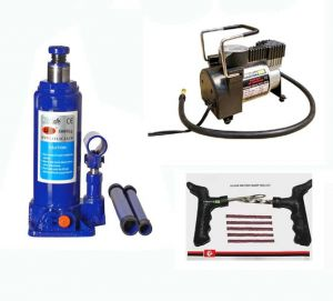 5ton Hydraulic Car Jack Autocut-off Premium Metal Air Compressor Tyre Punture Repair Kit Combo