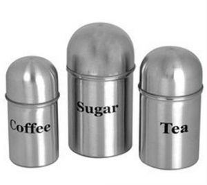 Crockery - Stainless Steel Tea - Coffee - Sugar Canisters