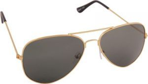 Cr Lens Aviator Sunglass For Men Gold Frame Black Lens