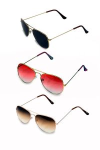 Men And Women Combo Black, Pink And Brown Shade Pack Of 3 Sunglass
