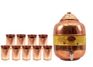 Pure Copper Water Pot Tank Matka 11.5 Ltr. & 9 Glass Tumbler Cup 300 Ml