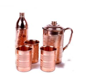 Copper Hammer 1 Jug 2100 Ml With 1 Bisleri Design Bottle 800 Ml & 3 Glass 300 Ml Each - Tableware