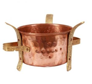 Indian Copper Brass Set Of 3 Sigri Food Warmer Angeethi Traditional Sigdi