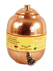 Pure Copper 4 Ltr. Water Pot Storage Tank With Tap Kitchen Home Garden