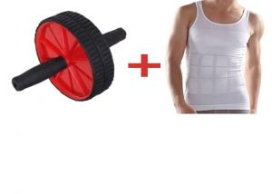 Instafit Ab Double Wheel Roller With Free Body Shaper For Men