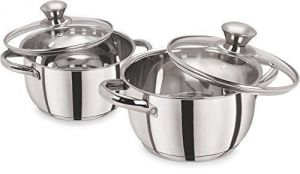 Pristine Cookware - Pristine Induction Compatiblestainless Steel Sandwich Base Cookware / Casserole Set With Glass Lids, 16 Cm / 1.700ltrs & 18 Cm / 2.250ltrs, 2pcs, Silv