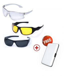 Day And Night Vision Sunglasses Set Of 3, Free Aluminium Wallet