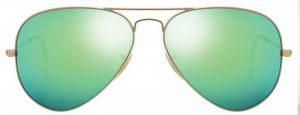 "Classic Aviator Style Women""s Sunglasses Golden Frame/green Mirror"
