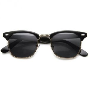 Vintage Hollywood Half Frame Classic Wayfarer Style Sunglasses Black Gold Frame W/ Black Lens