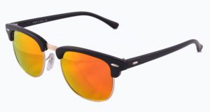 New Trendy Club Master Style Uv Protected Black Frame/orange Mirror Lens