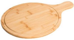Shrih Round Hardwood Pizza Peel Cutting Board With Handle