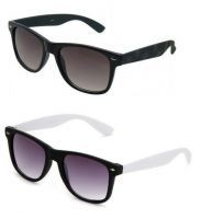 Black Wayfarer Sunglasses With White Wayfarer Sunglasses - Buy 1 Get 1 Free