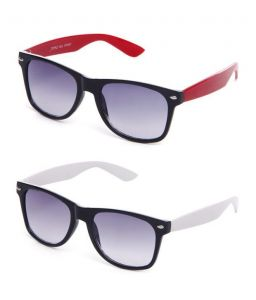 Black-red Wayfarer Sunglasses & Black-white Sunglasses - Buy 1 Get 1 Free