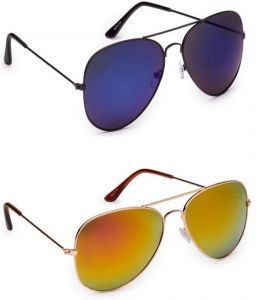Latest Blue Aviator Mirror Sunglasses With Yellow Sunglasses - Buy 1 Get 1 Free