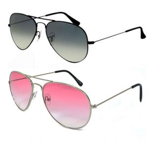 Black Aviator Sunglass & A Pink Aviator Sunglass - Buy 1 Get 1 Free