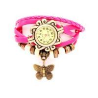 Women Leather Vintage Bracelet Watch Pink