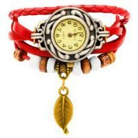 Vintage Style Ladies Leather Bracelet Watch (red)