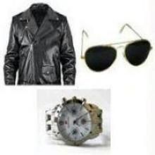 Cimmaron Leather Jacket + Sunglass + Watch