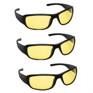 Quoface Day And Night Vision Yellow Sunglass Bike Goggles- Pack Of 3(product Code)qf-comnv702y3