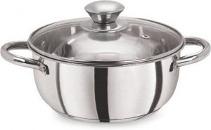 Pristine Cookware - Pristine Tri Ply Induction Compatible Stainless Steel Sandwich Base Casserole With Glass Lid, 14 Cm, 1 Litre, 1 Piece, Silver