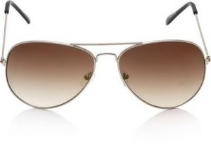 "Classic Aviator Style Men""s Sunglasses Silver Frame/brown Gradient"