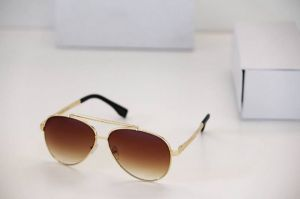 Aviator Style Designer Sunglasses Golden Frame/brown Gradient