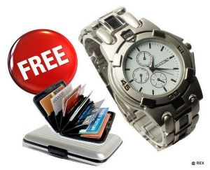 Mens Sporty Look Watch Free Aluminium Credit Card Wallet
