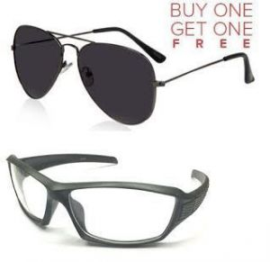 Buy 1 Black Aviator & Get 1 Sporty Biker Sunglass Free