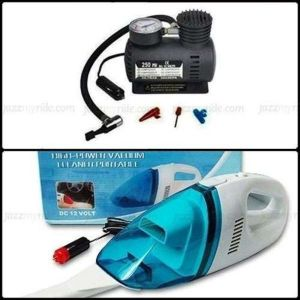 Combo Of 12v Dc Car Vacuum Cleaner Tyre Inflator