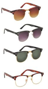 New Trendy Clubmaster Sunglasses With Uv400 Lens For Men Set Of 4