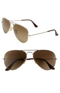 New Trendy Aviator Style Uv Protected Sunglass Golden Frame/brown Lens